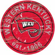 Western Kentucky Hilltoppers Distressed Round Sign