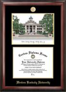 Western Kentucky Hilltoppers Gold Embossed Diploma Frame with Campus Images Lithograph