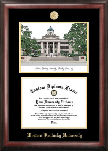 Western Kentucky Hilltoppers Gold Embossed Diploma Frame with Lithograph