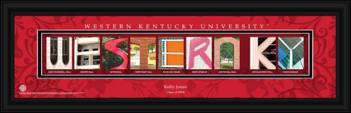 Western Kentucky Hilltoppers Personalized Campus Letter Art