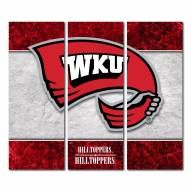 Western Kentucky Hilltoppers Triptych Double Border Canvas Wall Art
