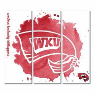 Western Kentucky Hilltoppers Triptych Watercolor Canvas Wall Art