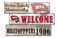 Western Kentucky Hilltoppers Welcome 3 Plank Sign