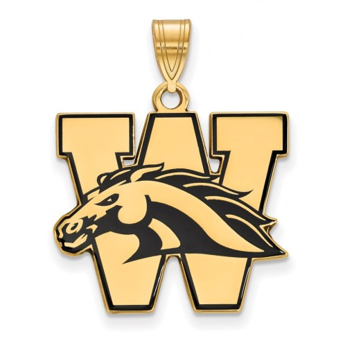 Western Michigan Broncos Sterling Silver Gold Plated Large Enameled Pendant