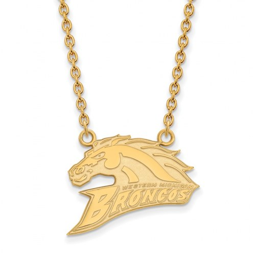 Western Michigan Broncos Sterling Silver Gold Plated Large Pendant Necklace
