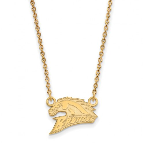 Western Michigan Broncos Sterling Silver Gold Plated Small Pendant Necklace