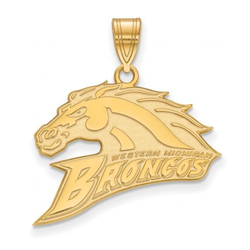 Western Michigan Broncos NCAA Sterling Silver Gold Plated Large Pendant
