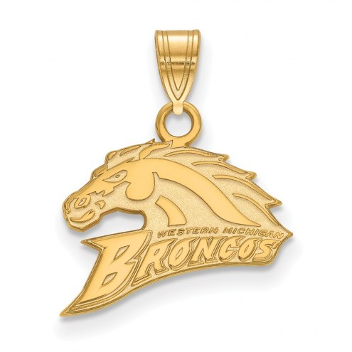 Western Michigan Broncos NCAA Sterling Silver Gold Plated Small Pendant