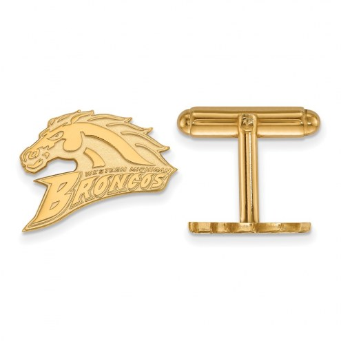 Western Michigan Broncos Sterling Silver Gold Plated Cuff Links