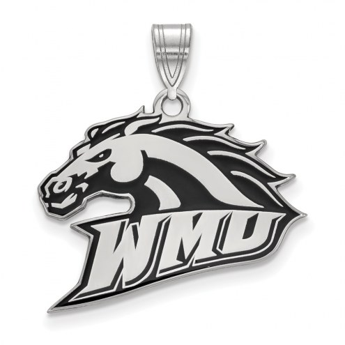 Western Michigan Broncos Sterling Silver Large Enameled Pendant