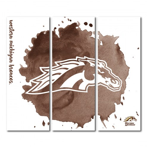 Western Michigan Broncos Triptych Watercolor Canvas Wall Art