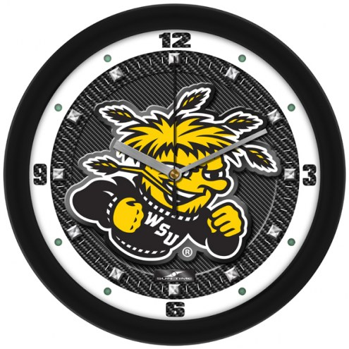Wichita State Shockers Carbon Fiber Wall Clock
