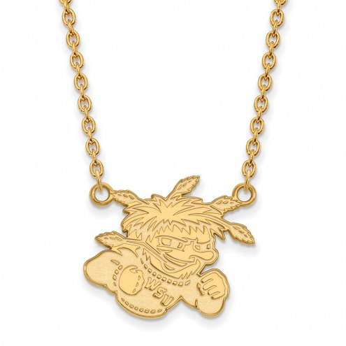 Wichita State Shockers NCAA Sterling Silver Gold Plated Large Pendant Necklace