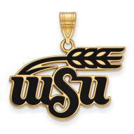 Wichita State Shockers Sterling Silver Gold Plated Large Enameled Pendant