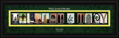 William & Mary Tribe Personalized Campus Letter Art
