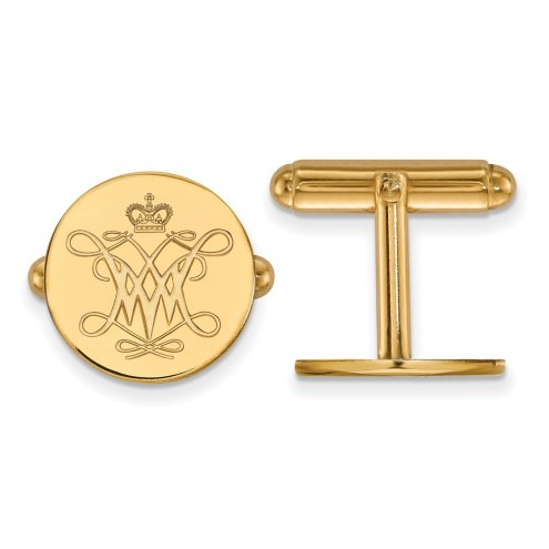 William & Mary Tribe Sterling Silver Gold Plated Cuff Links