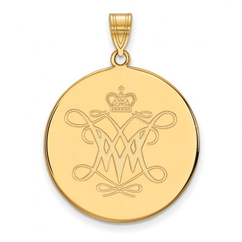 William & Mary Tribe Sterling Silver Gold Plated Extra Large Disc Pendant