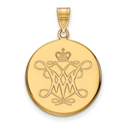 William & Mary Tribe Sterling Silver Gold Plated Large Disc Pendant