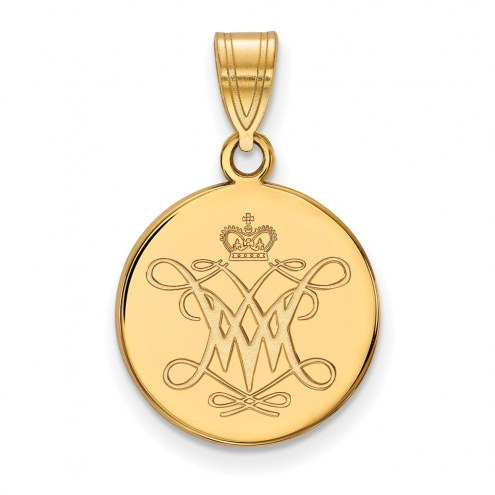 William & Mary Tribe Sterling Silver Gold Plated Medium Disc Pendant