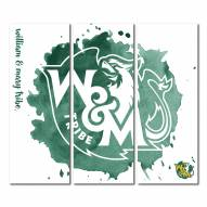 William & Mary Tribe Triptych Watercolor Canvas Wall Art