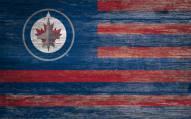 """Winnipeg Jets 11"""" x 19"""" Distressed Flag Sign"""