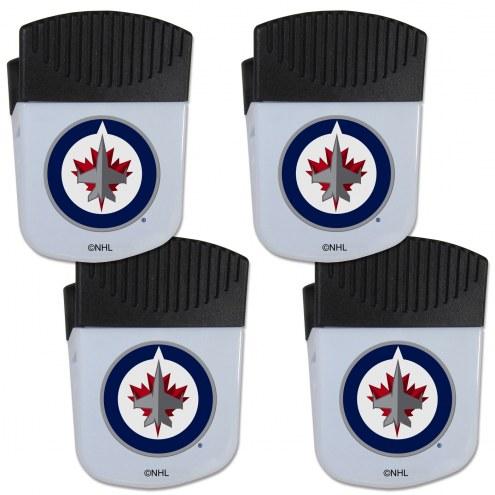 Winnipeg Jets 4 Pack Chip Clip Magnet with Bottle Opener