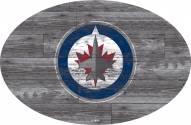 "Winnipeg Jets 46"" Distressed Wood Oval Sign"