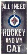 "Winnipeg Jets 6"" x 12"" Hockey & My Cat Sign"