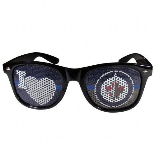 Winnipeg Jets Black I Heart Game Day Shades