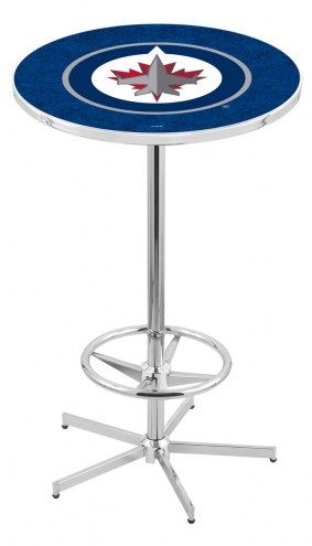 Winnipeg Jets Chrome Bar Table with Foot Ring