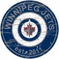 Winnipeg Jets Distressed Round Sign
