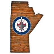 Winnipeg Jets Distressed State with Logo Sign