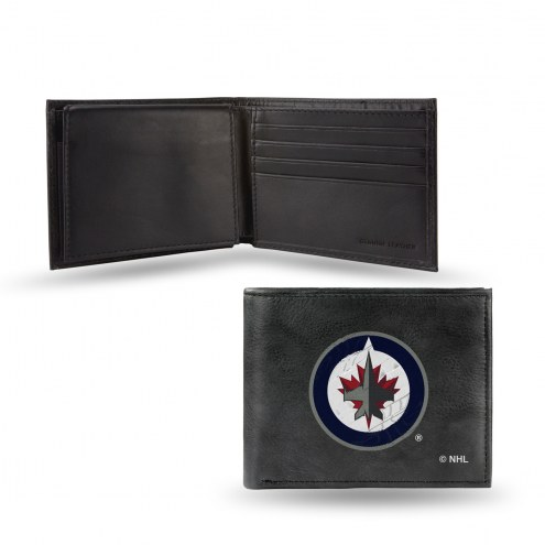 Winnipeg Jets Embroidered Leather Billfold Wallet
