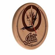 Winnipeg Jets Laser Engraved Wood Clock