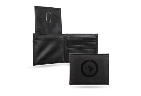 Winnipeg Jets Laser Engraved Black Billfold Wallet