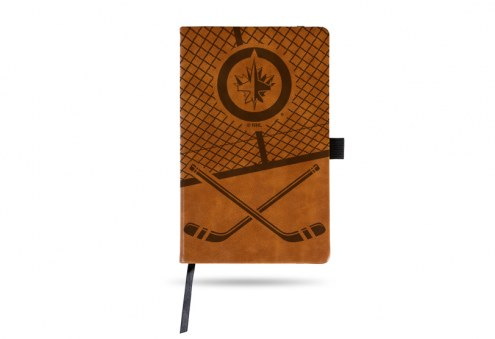 Winnipeg Jets Laser Engraved Brown Notepad