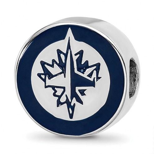 Winnipeg Jets Sterling Silver Enameled Bead