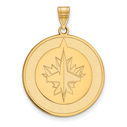 Winnipeg Jets Sterling Silver Gold Plated Extra Large Pendant