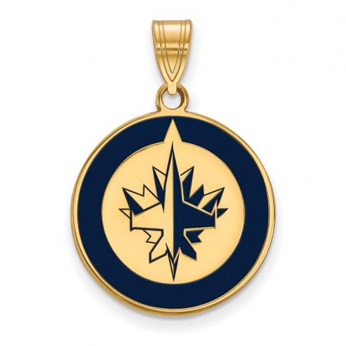 Winnipeg Jets Sterling Silver Gold Plated Large Enameled Pendant