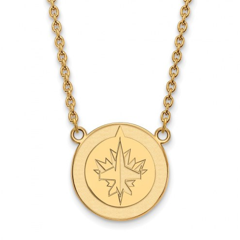 Winnipeg Jets Sterling Silver Gold Plated Large Pendant Necklace