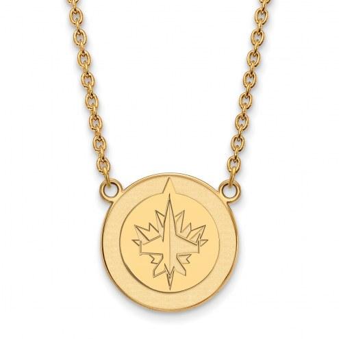 Winnipeg Jets Sterling Silver Gold Plated Large Pendant Necklace