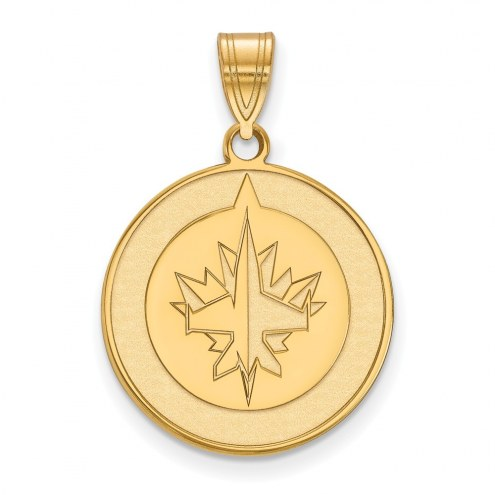 Winnipeg Jets Sterling Silver Gold Plated Large Pendant