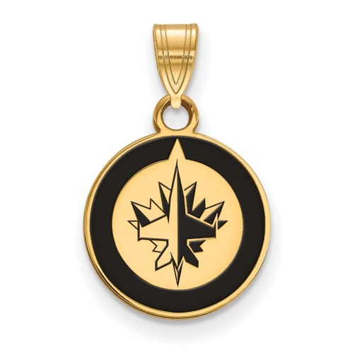 Winnipeg Jets Sterling Silver Gold Plated Small Enameled Pendant