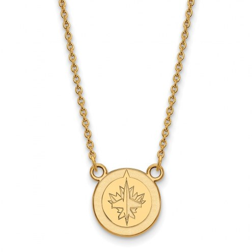 Winnipeg Jets Sterling Silver Gold Plated Small Pendant Necklace