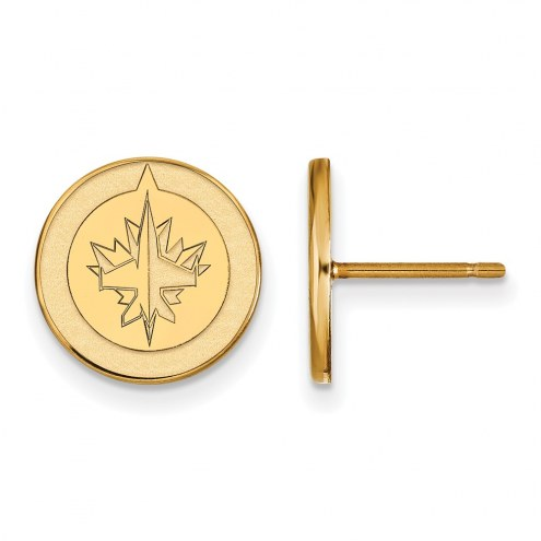 Winnipeg Jets Sterling Silver Gold Plated Small Post Earrings