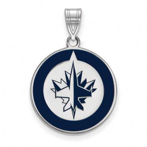 Winnipeg Jets Sterling Silver Large Enameled Pendant