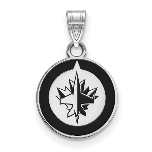 Winnipeg Jets Sterling Silver Small Enamel Pendant