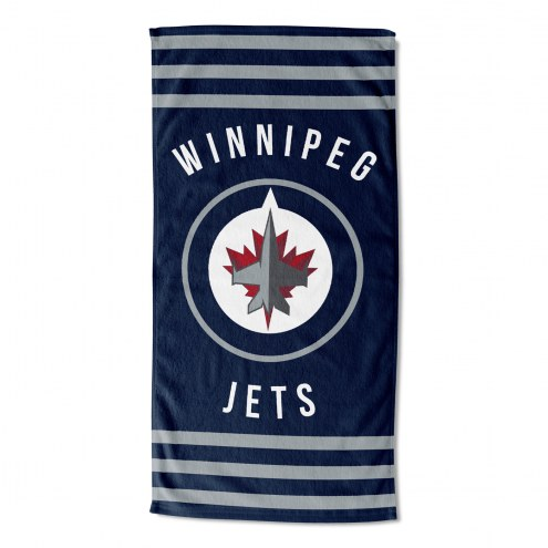 Winnipeg Jets Stripes Beach Towel
