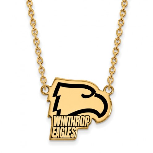 Winthrop Eagles Sterling Silver Gold Plated Large Enameled Pendant Necklace