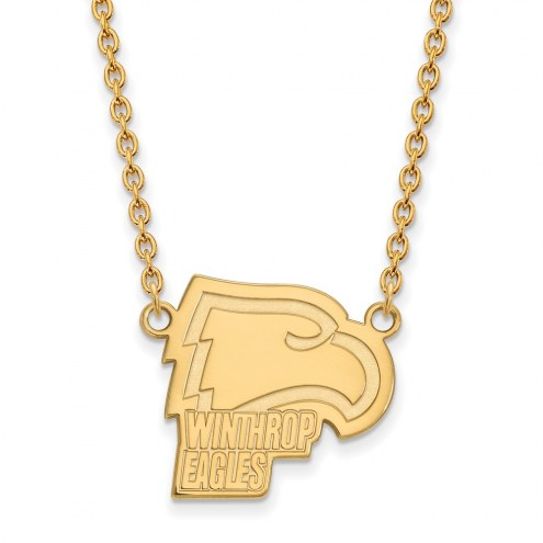 Winthrop Eagles Sterling Silver Gold Plated Large Pendant Necklace